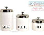 Set of 3 Jar Canister Vinyl Tags for Home Organization • Set of Three Vinyl Labels for Pantry, Craft Room, Toy Bin Your Choice Wording Color