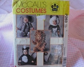 McCall's P263 Baby Costume Sewing Pattern by Tom Arma - Elephant, Panda , Lion, Monkey, Skunk, Size 1  - Uncut - Baby Halloween Costume