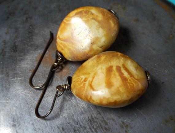 Large Earrings Butterscotch in brass Baltic amber like huge Czech glass nuggets solid brass rustic drop dangle earrings faux organic stone