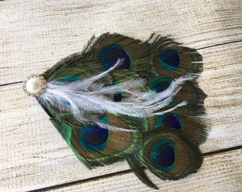 Peacock and Rhinestone Hair Clip