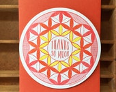 letterpress thanks circle radial pattern card