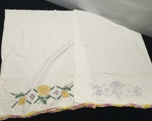 Pair of Vintage Unfinished Stamped for Embroidery Pillowcases and Crochet Trim