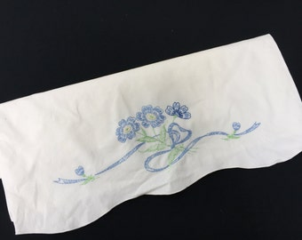Vintage Single Orphaned White Cotton Pillowcase with Blue Hand Embroidery Flowers