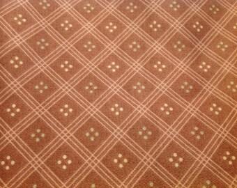 3 Yards of Vintage DuPont Teflon USA Margin Design Dusty Rose Geometric Print Upholstery or Drapery Fabric