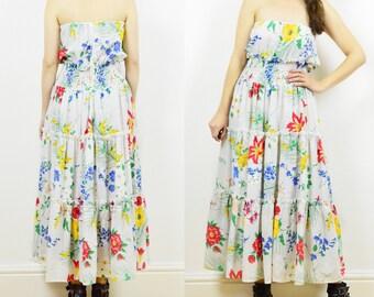Vintage gypsy dress, floral gypsy dress, 80s sleeveless dress,summer dress, boho gypsy dress, 80s floral dress, hippie dress, sun dress