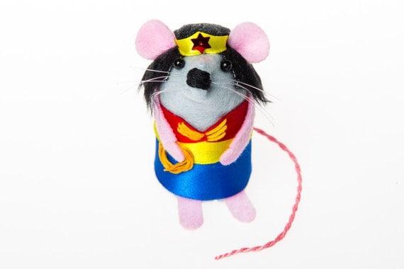 Wonder Woman Mouse gift for mothers day mom mum wife girlfriend best friend BFF supermom artisan ornament felt superhero rat mice hamster