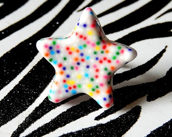 Sprinkles Star Ring, Cake Batter Candy Jewelry, Rainbow Kawaii Kitsch