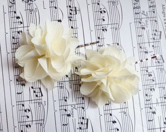 Wedding Hair Accessory /  Ivory chiffon Wedding Hair Flowers /  Wedding Hair Piece / Bridal Hair Accessories / Bridesmaids Hair
