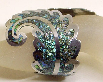 Vintage Taxco Bracelet, Los Ballesteros, Sterling Silver,Gorgeous Abalone Shell,3.5 Inches Tall,Iridescent Clamper Cuff - Larger Wrist