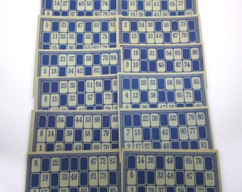 Vintage Blue and Grey Lotto Game Cards with Numbers Set of 12