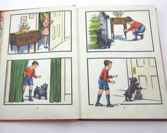 At Play Vintage 1940s Children's School Reader or Textbook by John C. Winston Co.  ith Scottie Dog Throughout