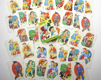 Vintage Tower Press Children's Playtime Snap Playing Cards Game from England Set of 36