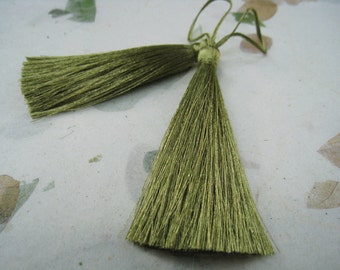 4 Pieces of Long Silk Tassel  - Number 193 Olive Drab Green