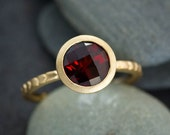 January Birthstone  Garnet Ring, Red Garnet Solitaire Ring, Gold Jewelry, Non traditional Engagement Ring
