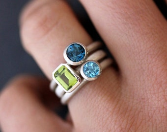 Gemstone Stackable Rings in Emerald Cut Peridot, London Blue Topaz and Swiss Blue Topaz and Sterling Silver, Mothers Ring