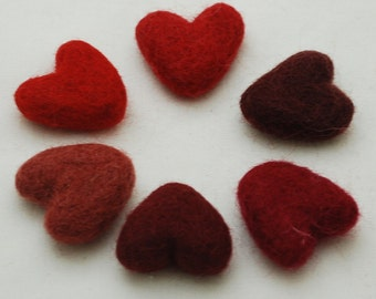 Assorted 100% Wool Felt Heart - 6 Count - Approx 3cm - Red Colour Shades