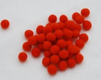 1cm Felt Balls - Tangelo Orange - Choose either 50 or 100 felt balls