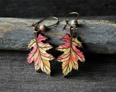 Autumn leather leaves  - gypsy earrings - by Fanny Dallaire -  leather collection
