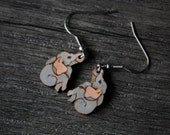 Cute baby elephant earrings  - gypsy earrings - by Fanny Dallaire -  leather collection