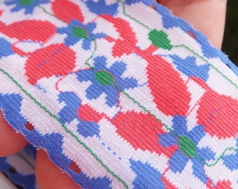 Vintage 1960's Ribbon Trim Swedish Folk Floral Ribbon Polyester Knit Vintage Ribbon Red Blue Green White Semi Sheer Knit Ribbon Poly Ribbon