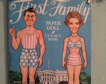 Vintage 1981 First Family Paper Doll and Cut Out Book Ronald Nancy Reagan Republican President GOP Political Patti Ronald Jr Politics