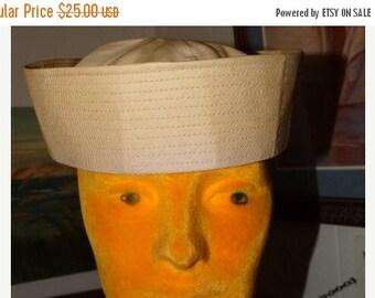 HUGE SALE White U.S. Navy Sailor Hat - Collectible White Canvas Hat - Costume Hat, Navy Service Hat - Navy Sailor Cap, One Size Fits All