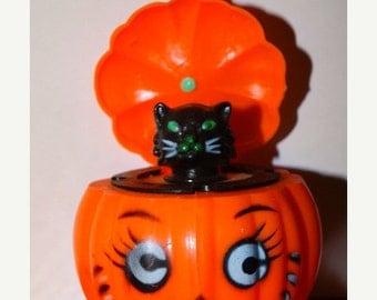 Vintage 1960's Black Cat in Pumpkin, Toy Figurine, Green Eyed Black Kitty , Meow, Halloween JackOLantern, Retro 60's Satan's Kitten Spooky