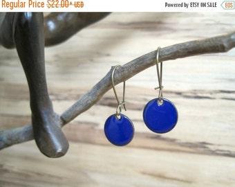 SALE Cobalt Dangle Earrings, Blue Drop Earrings, Royal Blue Earrings, Copper Enamel Jewelry, Nickel Free Kidney Earwires, Handmade Earrings