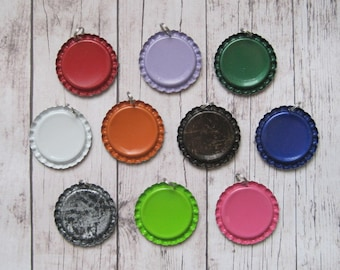 Set of 100 Colored Flattened Bottle Caps WITH SPLIT RING attached- Great for making into pendants using resin glaze drops