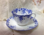Vintage Shelley cup and saucer  Shelley English bone china  Shelley dainty blue