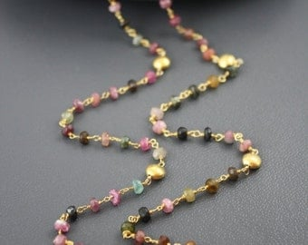 ON SALE Watermelon Tourmaline Gold Coin Necklace- Gold Filled by Yania Creations
