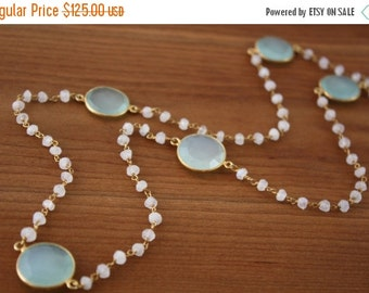 ON SALE Moonstone and Bezeled Aqua Chalcedony Long Necklace- Gold Filled by Yania Creations