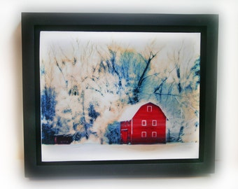 Country winter, 10x12 inches Framed, #nature art #Barn photography #Countryside #Farms #Winter landscapes #nature photography