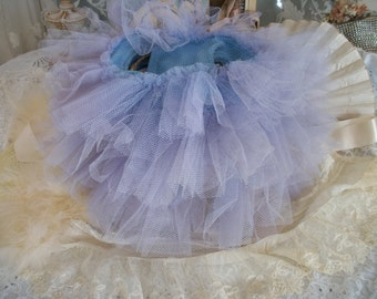 vintage childs ballet tutu pants, dance costume, old tulle ruffled panties, french blue