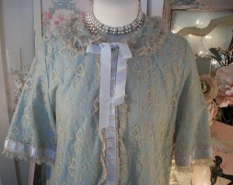 full length vintage french blue & antique ecru lace dressing gown robe, matej for odette barsa, sweet vintage elegance, combing coat
