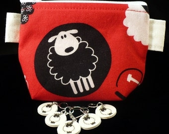 Circle Sheep mini pouch and stitchmarker set for KNITTERS