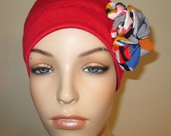 Red with Flower 3-Band Stretch Knit Cancer  Chemo Hat, Hijab, Alopecia Cap Yoga Hat