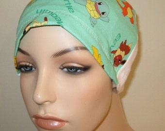 FREE SHIP USA  Pokemon  Print  Hat, Cancer Cap, Alopecia, Sleep Cap,  Chemo Hat
