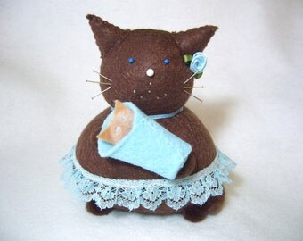 Mommy and baby cat, Felt cat pincushion, Baby boy blue, Mom to be gift, Mommy gift, Baby shower gift, Cat lover, Cute baby cat, Brown cat