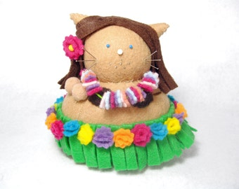 Hula dancer, Dancing girl, Cat pincushion, Hawaiian decor, Cute stuffed cat, Hula dancer art, Soft sculpture, Needlecraft doll, Cat gift