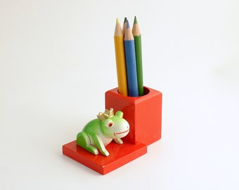Vintage Wood Pencil Holder The Frog Prince Erzgebirge Germany