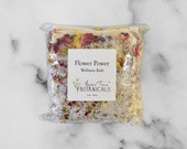 Flower Power Organic Bath Salts 5 oz - Feminine Wellness Bath  Infused with Reiki - Vegan and Fabulous - Bathe in Flowers