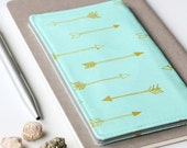 Mint Check Book Cover, Gold Arrow Fabric Checkbook Holder, Graduation Gift Under 25