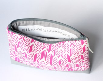 Quote Bag, If I Know What Love Is, Pink Arrow Clutch, Mothers Day Gift