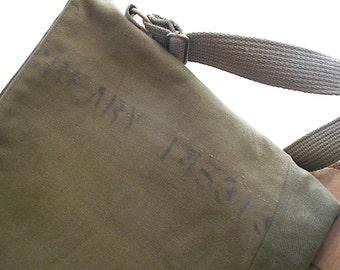 Vtg military canvas crossbody, shoulder bag, iPad Pro tote - eco vintage fabrics