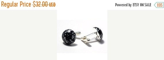 ON SALE Black and White Speckle cuff links
