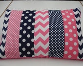 Hot Pink and Navy Chevron and Dots Strip-Style Patchwork Pillow Sham