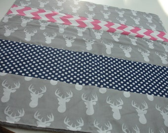 Navy Hot Pink and Gray Deer Head Minky Receiving Blanket  22 x 23 READY TO SHIP
