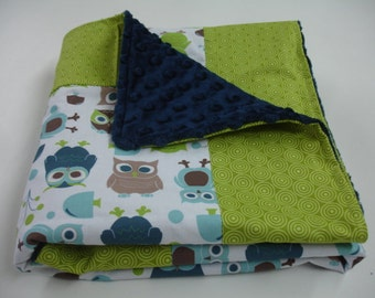 Modern Owls and Lime Green Circles Baby Crib Blanket with Minky MADE TO ORDER No Batting
