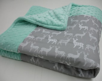 Meadow Deer Gray on White Minky Baby Blanket You Choose Size MADE TO ORDER No Batting